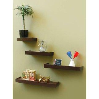 Onlineshoppee Beautiful Wooden Rectangular Wall Shelf Set of 4 - Brown
