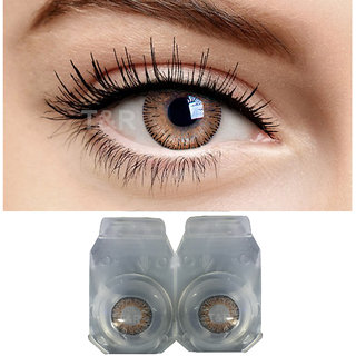 Crystal Eye Monthly BROWN Color Contact Lens Zero Power Monthly Disposable 2 Lenses Pack