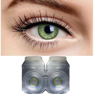 Crystal Eye Monthly Green Color Contact Lens Zero Power Monthly Disposable 2 Lenses Pack