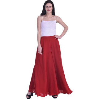 SKBM FASHION Coral Poly Georgette With Crepe Lining Flared Palazzo