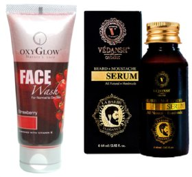 Strawberry Face Wash 50ml with Vedansh Organic Beard & Moustache Oil 30ml Combo