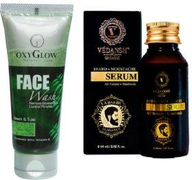 Neem & Tulsi Face Wash 50ml with Vedansh Organic Beard & Moustache Oil 30ml Combo