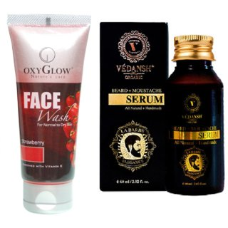 Strawberry Face Wash 100ml with Vedansh Organic Beard & Moustache Oil 30ml Combo