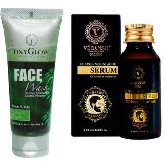 Neem & Tulsi Face Wash 100ml with Vedansh Organic Beard & Moustache Oil 30ml Combo
