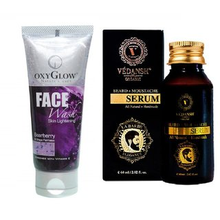 Pearl Whitening Face Wash 100ml with Vedansh Organic Beard & Moustache Oil 30ml Combo