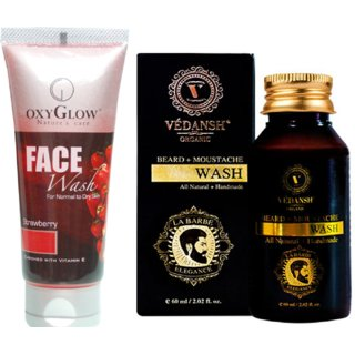 OxyGlow Strawberry Face Wash 50ml with Vedansh Organic Beard & Moustache Wash 60ml Combo