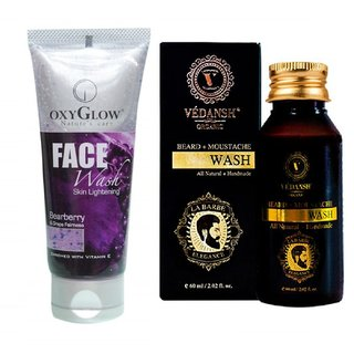 OxyGlow Bearberry & Grape Face Wash 50ml with Vedansh Organic Beard & Moustache Wash 60ml Combo