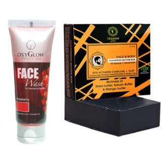 OxyGlow Strawberry Face Wash 50ml with Vedansh Organic Charcoal Bar (Soap) 150gm Combo