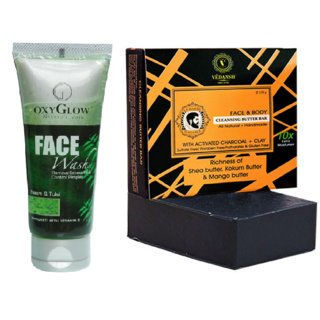 OxyGlow Neem & Tulsi Face Wash 50ml with Vedansh Organic Charcoal Bar (Soap) 150gm Combo