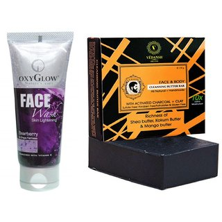 OxyGlow Bearberry & Grape Face Wash 50ml with Vedansh Organic Charcoal Bar (Soap) 150gm Combo