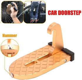 2 in 1 Foldable Car Doorstep Vehicle Folding Ladder Foot Pegs Easy Access to Car Rooftop with Safety Hammer for Jeep Car