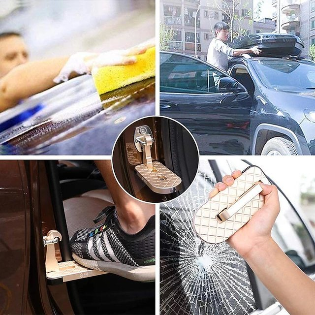 Vehicle Doorstep Folding Ladder Foot Rest with Safety Hammer Head for emergency