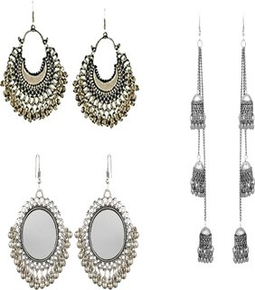 1eaed67b1 Minha Best combo of fashion oxidised earring combo set pair of 3 for Women  and girls
