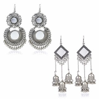 Minha Combo 2 Pairs Stylish Mirror Work Oxidized Silver Danglers Earrings for Women