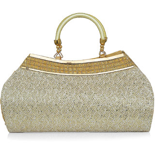 LADY QUEEN Gold Printed Clutch
