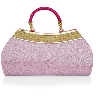 LADY QUEEN Pink Printed Clutch