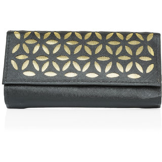 LADY QUEEN Black Printed Clutch