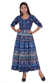Dhruvi Western Wear Blue Cotton Long Maxi Dress for Women (Free Size Up to 44)