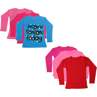IndiWeaves Girls Cotton Full Sleeves Solid and Printed T-Shirt (Pack of 6)