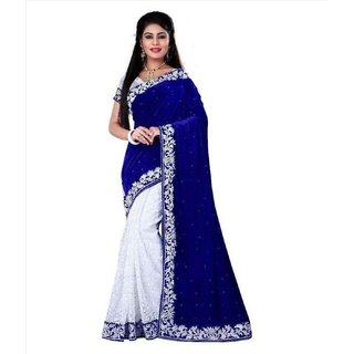 SOFTIEONS E-COMMERCE Sarees Solid Blue And White  Coloured Velvet Fashion Party Wear Women's Saree/Sari With Blouse Piece.