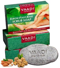 Vaadi Herbals Pack of 3 Elbow Foot Knee Scrub Soap with Almond and Walnut Scrub