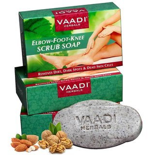 Vaadi Herbals Elbow Foot Knee Scrub Soap (Pack of 3) with Almond and Walnut Scrub