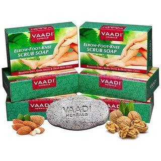 Vaadi Herbals Pack of 6 Elbow Foot Knee Scrub Soap with Almond and Walnut Scrub