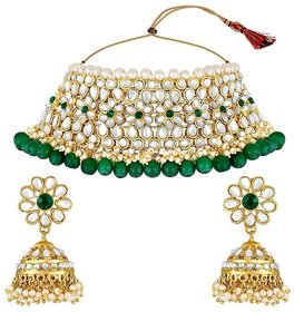 Ankur Imitation Jewellery Brass Green Contemporary/Fashion Necklaces Set
