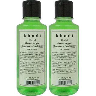 Khadi Herbal Dandruff Green Apple Shampoo + Conditioner - 210 ml (Set of 2)