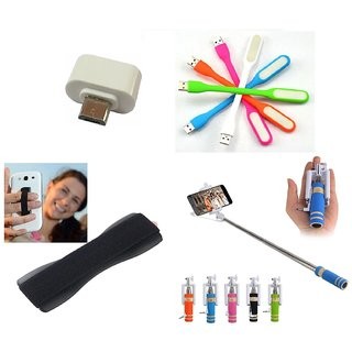 Combo of Selfie Stick, Finger Grip, Led and OTG Adapter AUX Cable for Smartphones (Assorted Colors)
