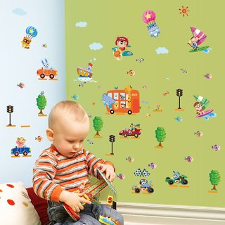 JAAMSO ROYALS Cartoon Cars Child Room Wall Sticker for Home Dcor