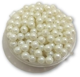 De-Ultimate (Pack Of 500 Gram) 8Mm Plain White Moti Balls Pearls Beads For Jewellery Beading,Decorations,Arts And Crafts