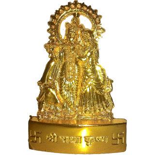 Gold plated Radha Krishna Idol 7 cms