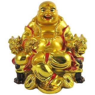 ReBuy Feng Shui Vastu Laughing Buddha Sitting on Dragon Chair For Protection