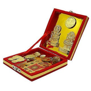 Beadworks Metal Gold Plated Shree Kuber Dhan Lakshmi Varsha Yantra (12 x 12 x 3 cm) - Pack Of 10