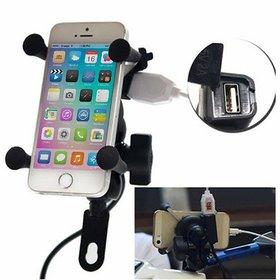 Yashinika Universal Bike Cell Phone Spider Bike Multifunctional Mobile Holder X Grip Handlebar Mirror - Pack of 1
