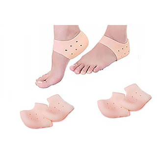 Lucky Traders (2Pair) Crack Heel Support Gel Flat Foot Support Silicon Cushion Heel Pad Moisturizing Silicone Gel Heel Socks