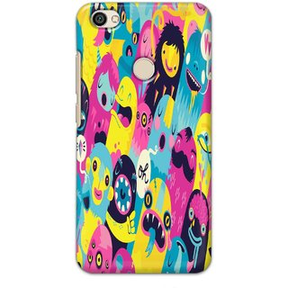 Ezellohub Back Cover For Redmi Y1   Colorful Monsters Hard Printed mobile Cover