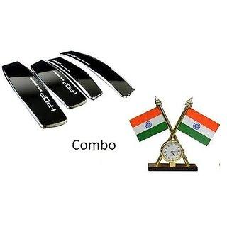 Combo Car Dashboard Indian Flag with Clock + I Pop Black Door Guard