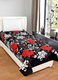 SHAKRIN Glace Cotton Single Bedsheet Cum Topsheet Without Pillow Cover Color-Black-Red