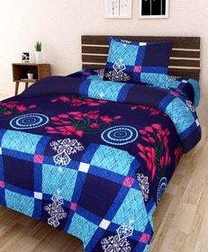 SHAKRIN Glace Cotton Single Bedsheet Cum Topsheet Without Pillow Cover Color-Blue-Black