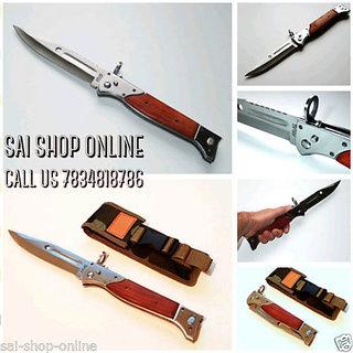 Ak 47 Foldable Camping Hiking Survival Push Button Lock Knife Survival Knife