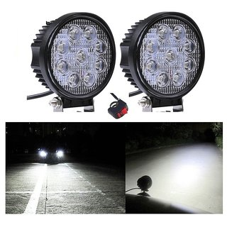 Bikers World 2Pcs 9Led 27w Bike Aux light Projector Lamp Spot Beam Drl For Enfield Classic 350