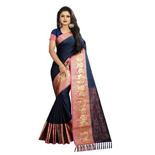 Women's designer navy blue soft cotton party wear saree (dfmd-dno.117navy)