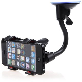 Soft Tube Mobile Holder With Multi-Angle 360 Degree Rotating Clip,Double Duck (Black)