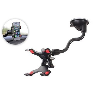Soft Tube Car Mobile Holder Stand With Multi Angle 360 Degree Rotating Clip For Car Windshield / Dashboard / Table / Desk Style Code-41
