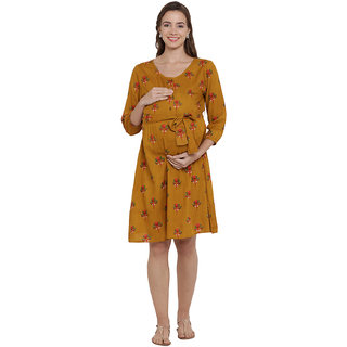 Mine4Nine Women' RayonA line Maternity Dress(Yellow,MNDR1112-S)