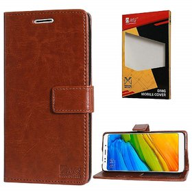Lychee Vintage Artificial Leather Wallet Flip Book Cover Case for Samsung J8 (2018)(Brown)