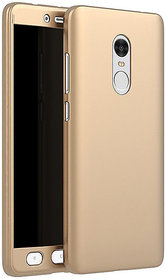 IPkay 360 Degree Full Body Protection Front+Back Case Cover with Tempered Glass for Redmi Note 4 (Gold)