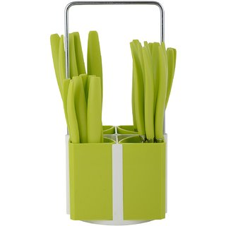 Jony Prince Stainless Steel Cutlery Set  Spoon Set  With Stand 24 Pcs - Green